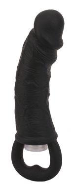 Чёрная вибровтулка-фаллос Erotic Loop Tuggers Hard Core - 11,4 см.