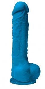 Голубой фаллоимитатор Colours Pleasures 5 Dildo на присоске - 17,8 см.