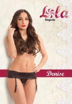 Кружевной пояс для чулок Denise с вшитыми трусиками черного цвета