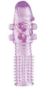 Гелевая фиолетовая насадка с шариками и шипами - 14 см.