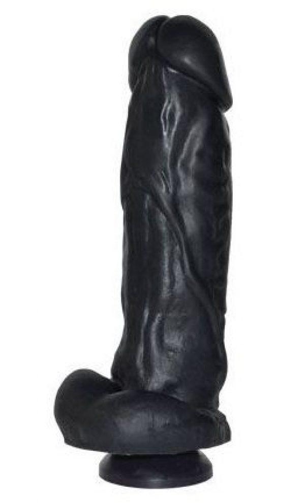 Чёрный фаллоимитатор с пышным стволом и присоской - 20,5 см.