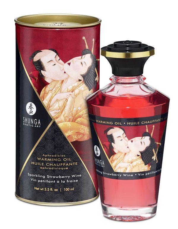 Массажное интимное масло с ароматом клубничного вина - 100 мл.