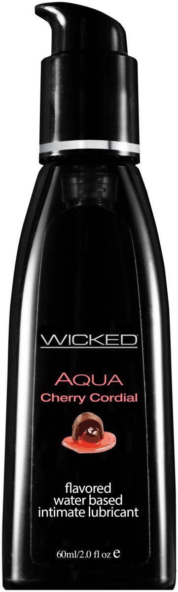 Лубрикант WICKED AQUA Cherry Cordial с ароматом вишневого ликера - 60 мл.