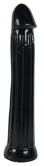 Чёрный фаллоимитатор All Black с рёбрами - 31 см.