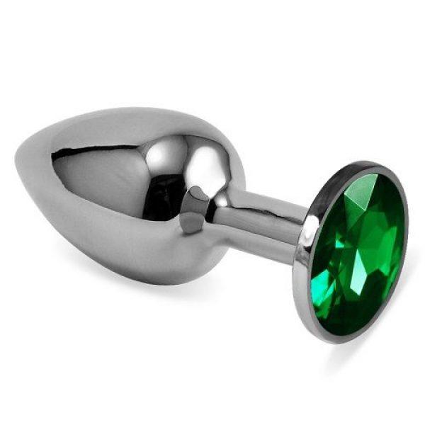Серебристая средняя пробка с зеленым кристаллом - 8,5 см.