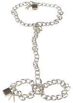 Фиксация на шею и запястья в виде цепей с замочками Bad Kitty Metal collar and chain