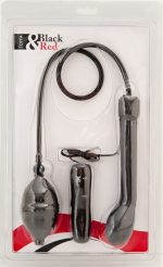 Анальный вибратор черного цвета с грушей - 20 см.