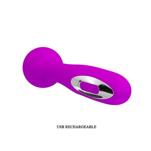 Лиловый жезловый перезаряжаемый вибратор Wade - 15 см. - фото 5