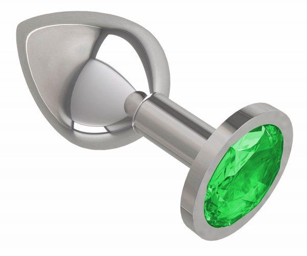Серебристая средняя пробка с зеленым кристаллом - 8,5 см. - фото, отзывы