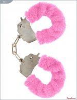 Металлические наручники с розовым мехом