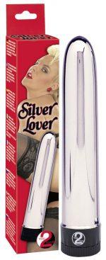 Серебристый классический вибратор Silver Lover - 19 см.